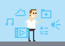 Pixel Art Image Of Man Amongst Virtual Reality Graphics Royalty Free Stock Photos
