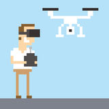 Pixel Art Image Of Man Wearing VR Headset Flying Drone royalty free illustration