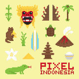 Pixel art Indonesia  vector objects Stock Image