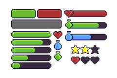 Pixel Art Interface. Pixel art game interface elements for hitpoints, mana, energy, stamina. Loading bar, stars and buttons Stock Photography