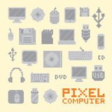 Pixel art isolated computer objects vector set Royalty Free Stock Image