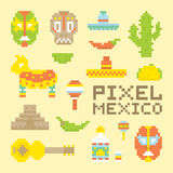 Pixel art isolated mexican vector objects Royalty Free Stock Image