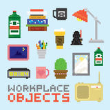 Pixel art isolated office tools vector set Royalty Free Stock Photo