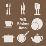 Pixel art kitchen utensil icons Royalty Free Stock Photography