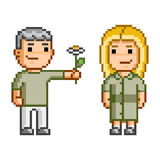 Pixel art Love and flowers Stock Photos
