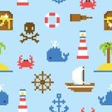 Pixel art marine seamless vector pattern Stock Image