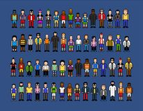 Pixel art men, video game style vector illustration isolated Stock Photography
