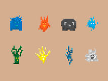 Pixel Art Monster Collection Stock Afbeelding