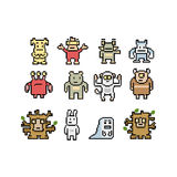 Pixel art monsters and animals collection Stock Photography