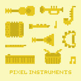 Pixel art music instruments  vector Royalty Free Stock Photos