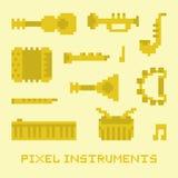 Pixel art music instruments  vector Royalty Free Stock Photos