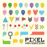 Pixel art  navigation vector icon set Royalty Free Stock Photos