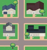 Pixel Art Neighborhood. Houses, garage and trees Royalty Free Stock Images