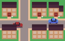 Pixel Art Neighborhood. Houses, roads and cars Royalty Free Stock Photos