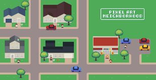 Pixel Art Neighborhood. Map with houses, shop, roads, cars, people and trees Stock Photos