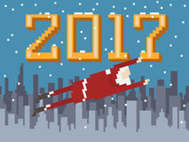 Pixel art New Year postcard with flying Santa. New Year postcard with Santa flies over winter cityscape. Made in pixel art style Vector Illustration