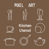 Pixel art outline kitchen utensil icons Stock Image