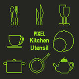 Pixel art outline kitchen utensil icons Royalty Free Stock Image