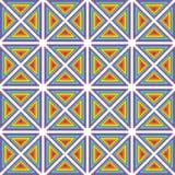 Pixel art pattern rainbow triangles ornament. Pixel art background rainbow triangles ethno ornament shevitsa - purple, blue, green, yellow, orange, red stock illustration