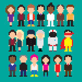 Pixel art people. Set of multiple pixel art icons with people Stock Illustration