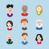 Pixel Art People Set Lizenzfreie Stockbilder