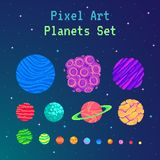 Pixel art planets set . Cartoon collection for design. Vector illustration Vector Illustration