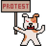 Pixel art protest dog. Vector pixel art protest dog Stock Images