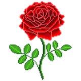 Pixel red rose flower detailed isolated vector. Pixel art red rose flower detailed isolated vector stock illustration