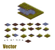 Pixel art river tilesets. Water, grass and land Stock Images