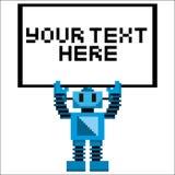Pixel Art Robot Holding de la historieta una muestra Foto de archivo libre de regalías