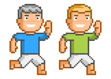 Pixel art running man for game and design Royalty Free Stock Photo