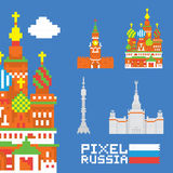 Pixel art  russia vector set Royalty Free Stock Images