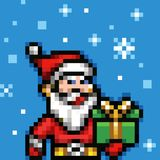 Pixel art santa claus xmas vector. Pixel art santa claus video game xmas vector Stock Photo