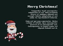 Pixel Art Santa. With striped Christmas candy Stock Images