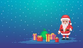 Pixel art scene with santa claus and gifts. Vector illustration stock illustration
