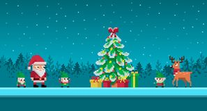 Pixel art scene with santa claus and gnomes. Around christmas tree. Vector illustration Royalty Free Illustration