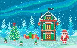 Pixel art scene with santa claus and gnomes. Pixel art scene with santa claus and gnomes who ready gifts. Cute christmas illustration Royalty Free Illustration