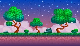 Pixel art seamless background. Location with forest at night. Landscape for game or application Stock Photo