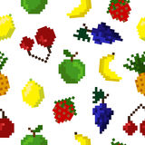 Pixel art seamless fruits pattern. Pixel fruit background. Fruits pattern. Pixel art. Apple, banana, pineapple, grapes, strawberry, cherry. Healthy food set Stock Illustration