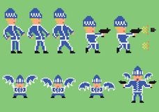 Pixel art set of bandit in blue sport clothes Stock Photo