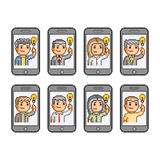 Pixel art set people communicate on smartphones Royalty Free Stock Photo