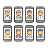 Pixel art set. People communicate on smartphones Royalty Free Stock Photography