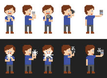 Pixel art set of person making pictures Royalty Free Stock Photography