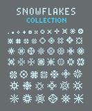 Pixel art set of silhouettes of snowflakes. Different sizes and forms. Nice element for christmas banner, cards. New year ornament royalty free illustration