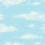Pixel art sky seamless vector pattern Royalty Free Stock Photo