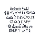 Pixel Art Social UI Icons. Pixel art contour, black and white input devices, social networks, message bubbles, hand pointing index finger and thumbs up likes Royalty Free Stock Image