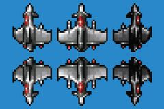 Pixel art space ship animation set - 8 bit style vector. Illustration royalty free illustration