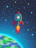 Pixel art spaceship rocket launch. Stock Images