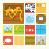 Pixel art square icons vector set. Pixel art style square game icons vector set Royalty Free Stock Images