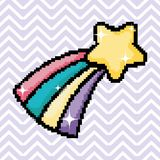 Pixel art star with rainbow. Cartoon vector illustration graphic design royalty free illustration